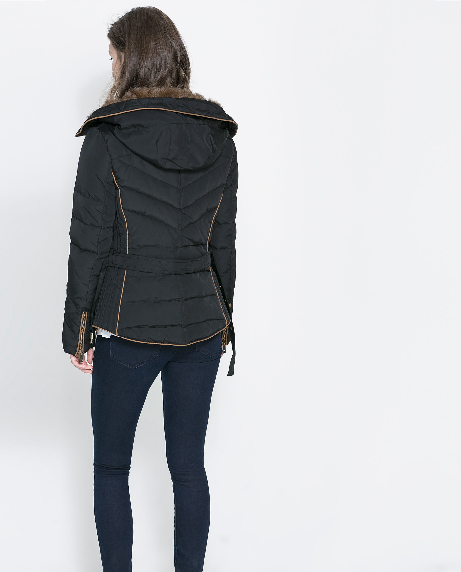 Zara Short Quilted Jacket With Hood In Black Lyst