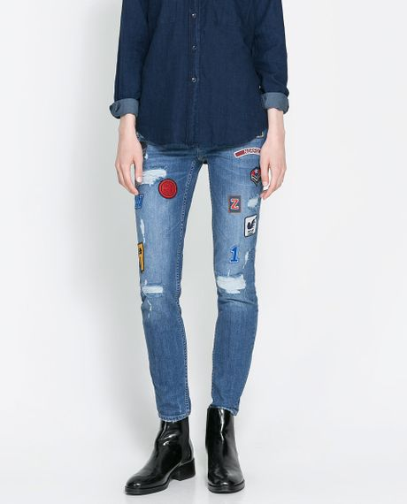 Cheap Monday Jeans Blue Zara Patched Jeans in ...