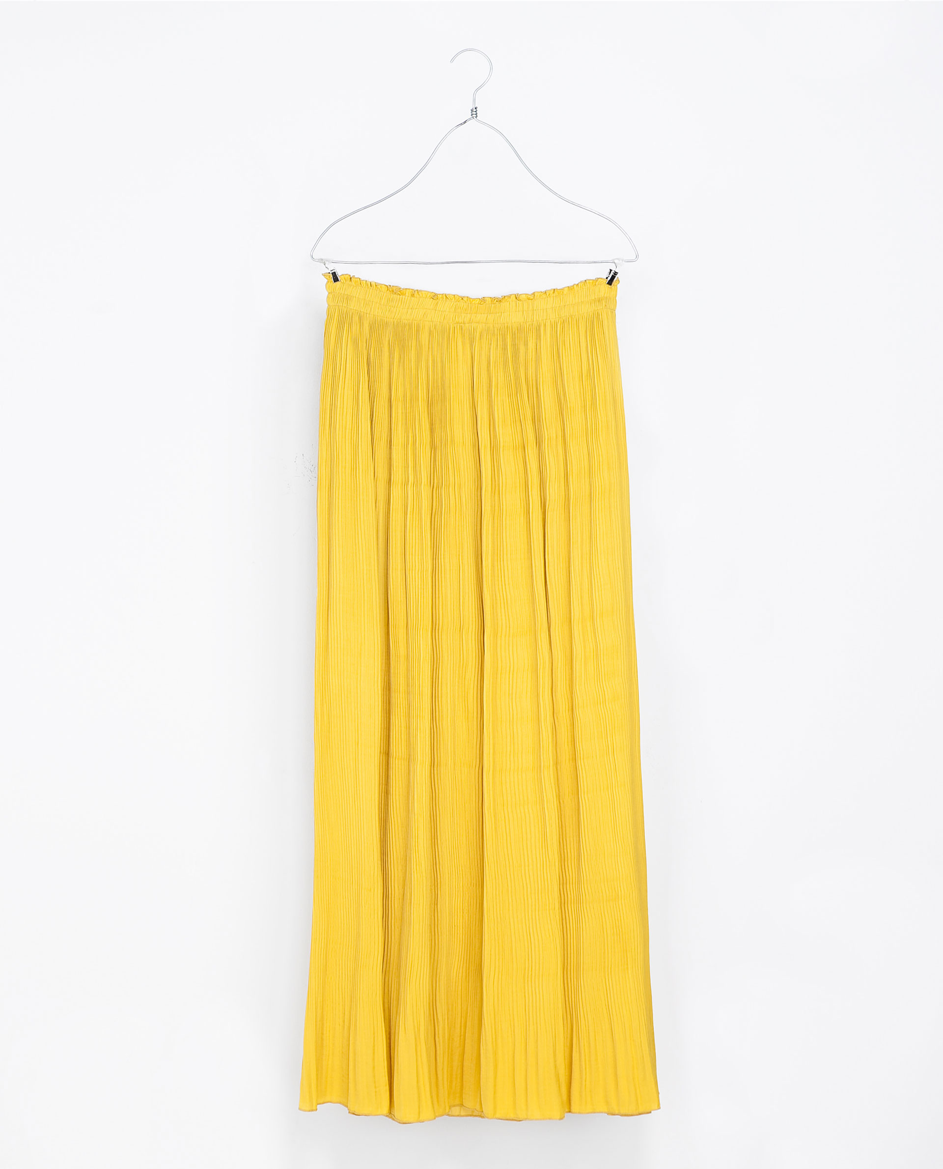 Zara Long Fine Pleat Skirt in Yellow | Lyst