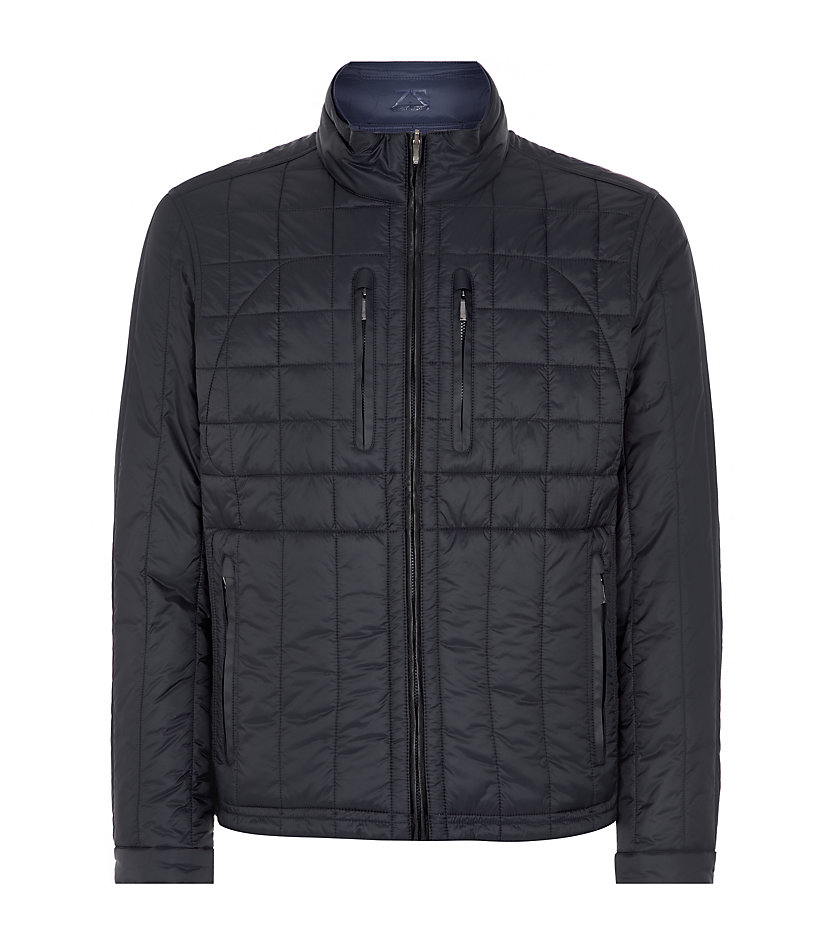 Lyst Zegna Sport Reversible Quilted Navy Jacket In Blue