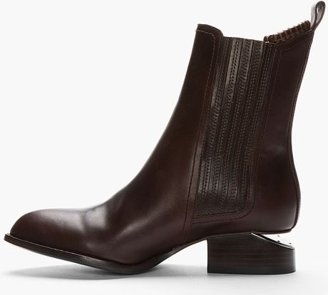 alexander wang dark brown leather silver heeled anouck chelsea boots in brown lyst. Black Bedroom Furniture Sets. Home Design Ideas