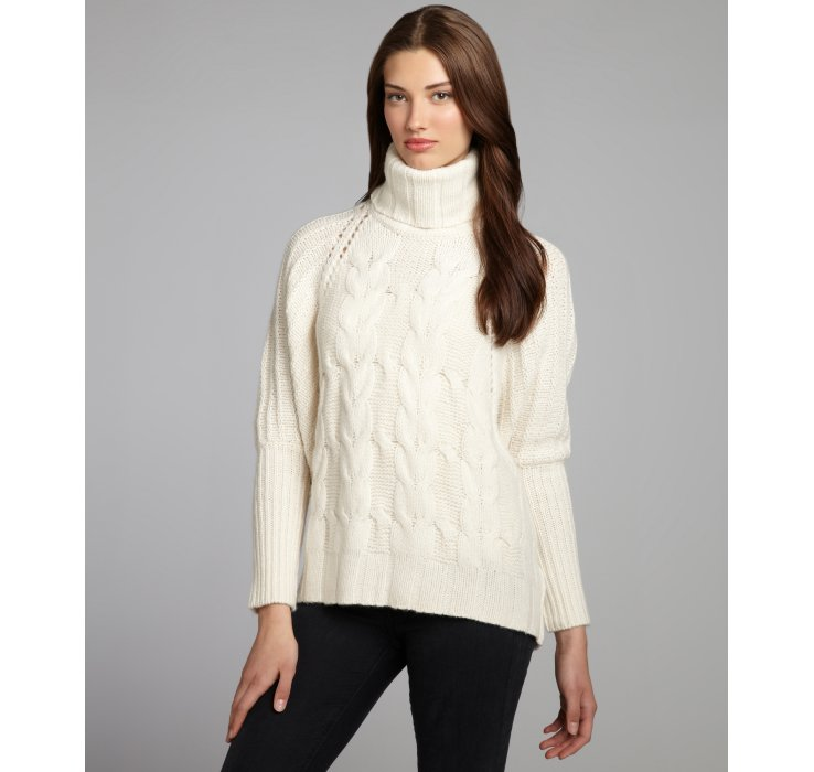 Autumn cashmere Winter White Cashmere Chunky Cable Knit Turtleneck ...