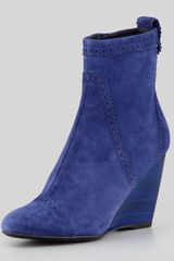 Balenciaga Brogue Suede Wedge Ankle Boot Blue - Lyst