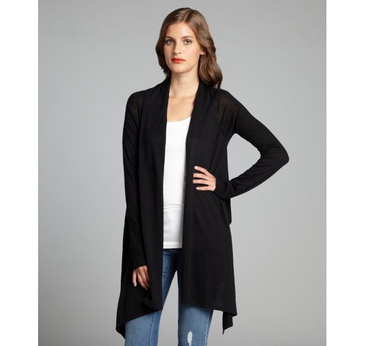 Bcbgmaxazria Black Cotton Draped Open Front Long Sleeve Cardigan ...