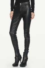 Black Label Stretch-leather skinny pants - Lyst