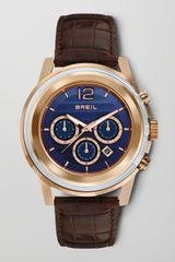 Breil Orchestra Crocodileembossed Chronograph Watch Blue