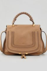 Chloé Marcie Medium Satchel Bag with Shoulder Strap Tan - Lyst