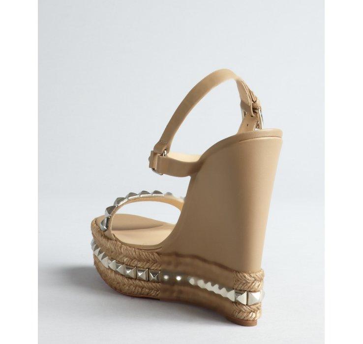 men's louis vuitton sneakers - Christian louboutin Studded Platform Wedge Sandals in Beige ...
