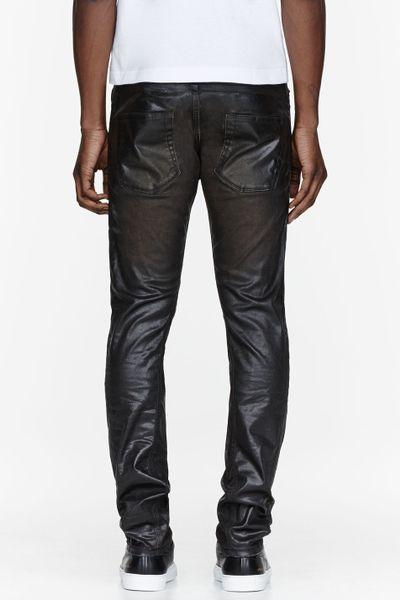diesel black gold black wet look coated jeans in black for