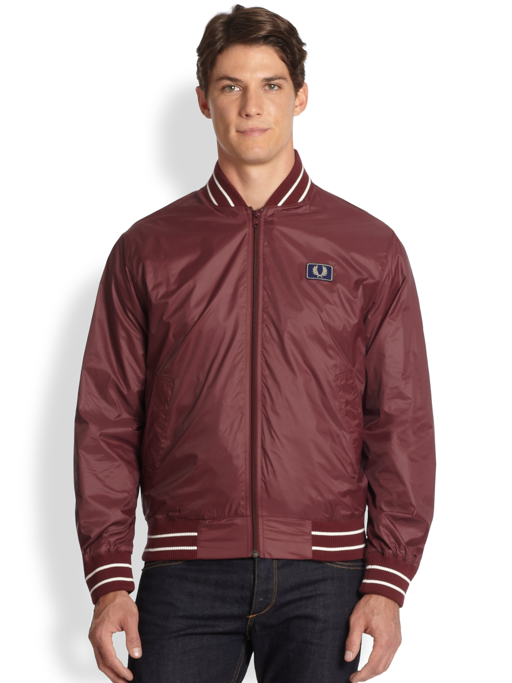 fred perry tipped nylon bomber jacket in red for men lyst. Black Bedroom Furniture Sets. Home Design Ideas