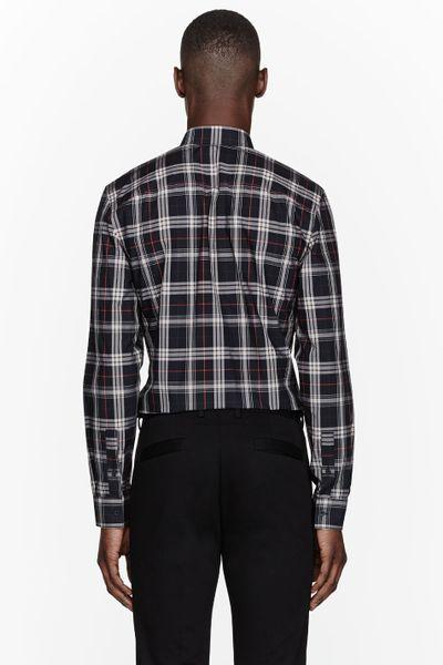 Givenchy Navy Plaid Button Up Dress Shirt In Black For Men