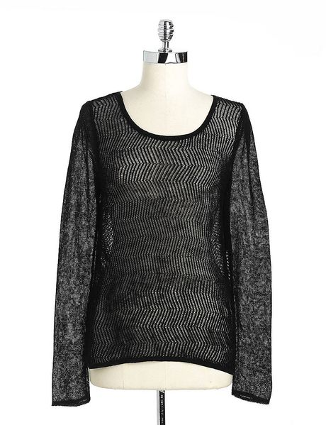 Guess Chevronknit Hilo Sweater in Black - Lyst