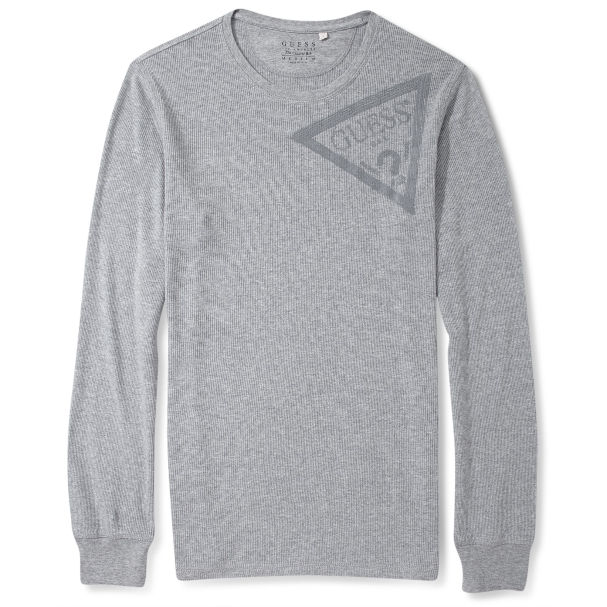 Guess Long Sleeve Shirt Cadwell Logo Crewneck In Gray For
