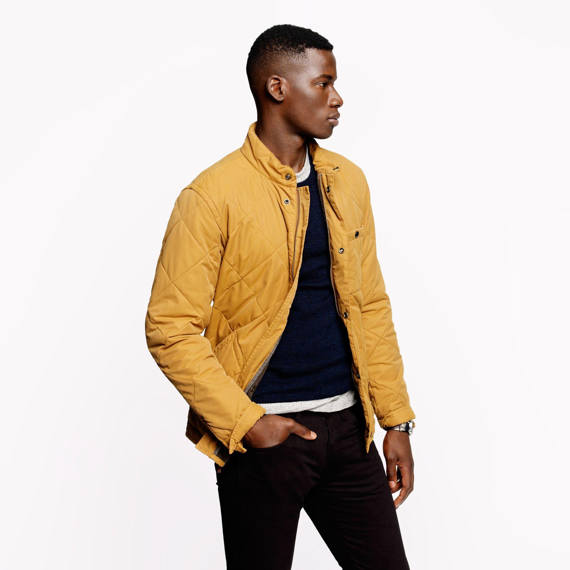 J Crew Broadmoor Quilted Jacket In Yellow For Men Lyst
