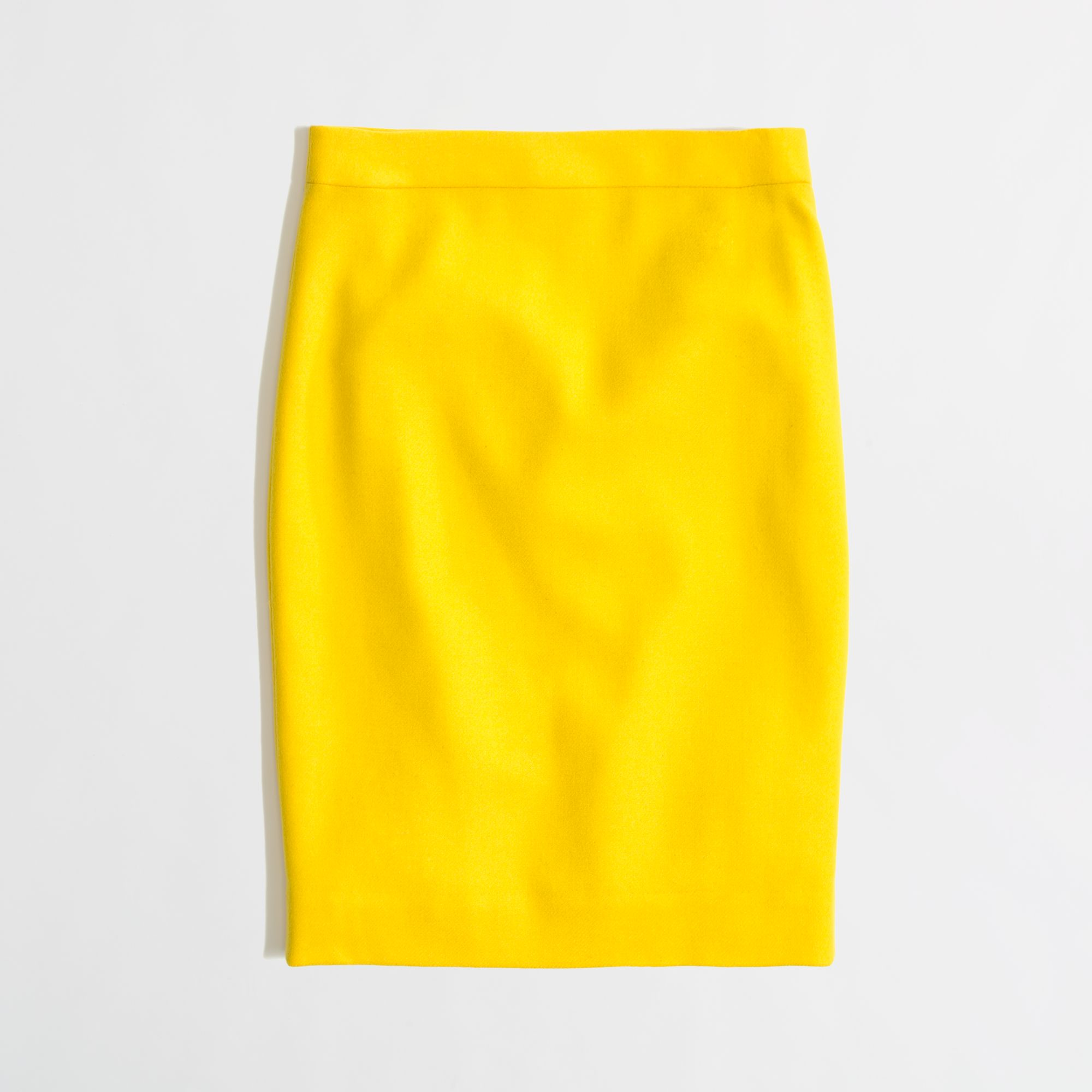 j crew factory pencil skirt in doubleserge wool in yellow