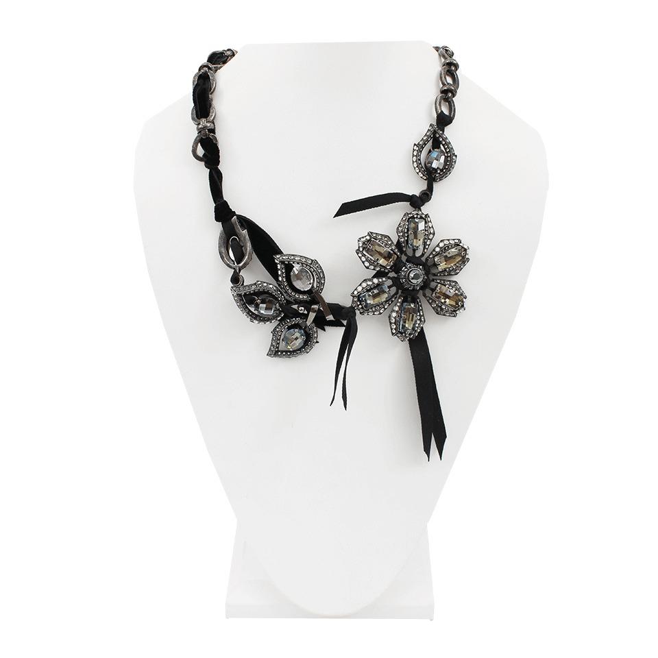 Lanvin crystal-embellished flower necklace - Metallic lmu2aH42s