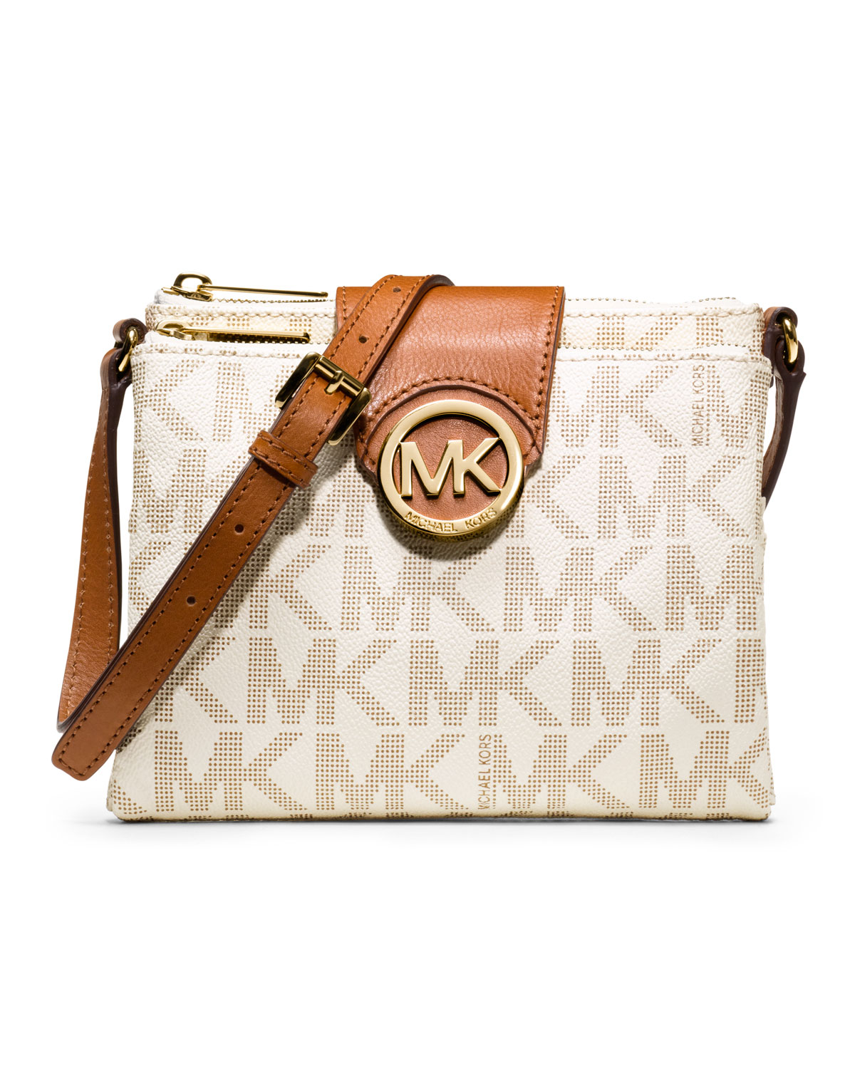 1168408fe0da38 ... good lyst michael michael kors large fulton logo crossbody in natural  dd661 f3b73
