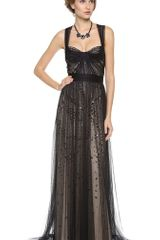 Monique Lhuillier Bustier Top Gown with Tulle Straps - Lyst