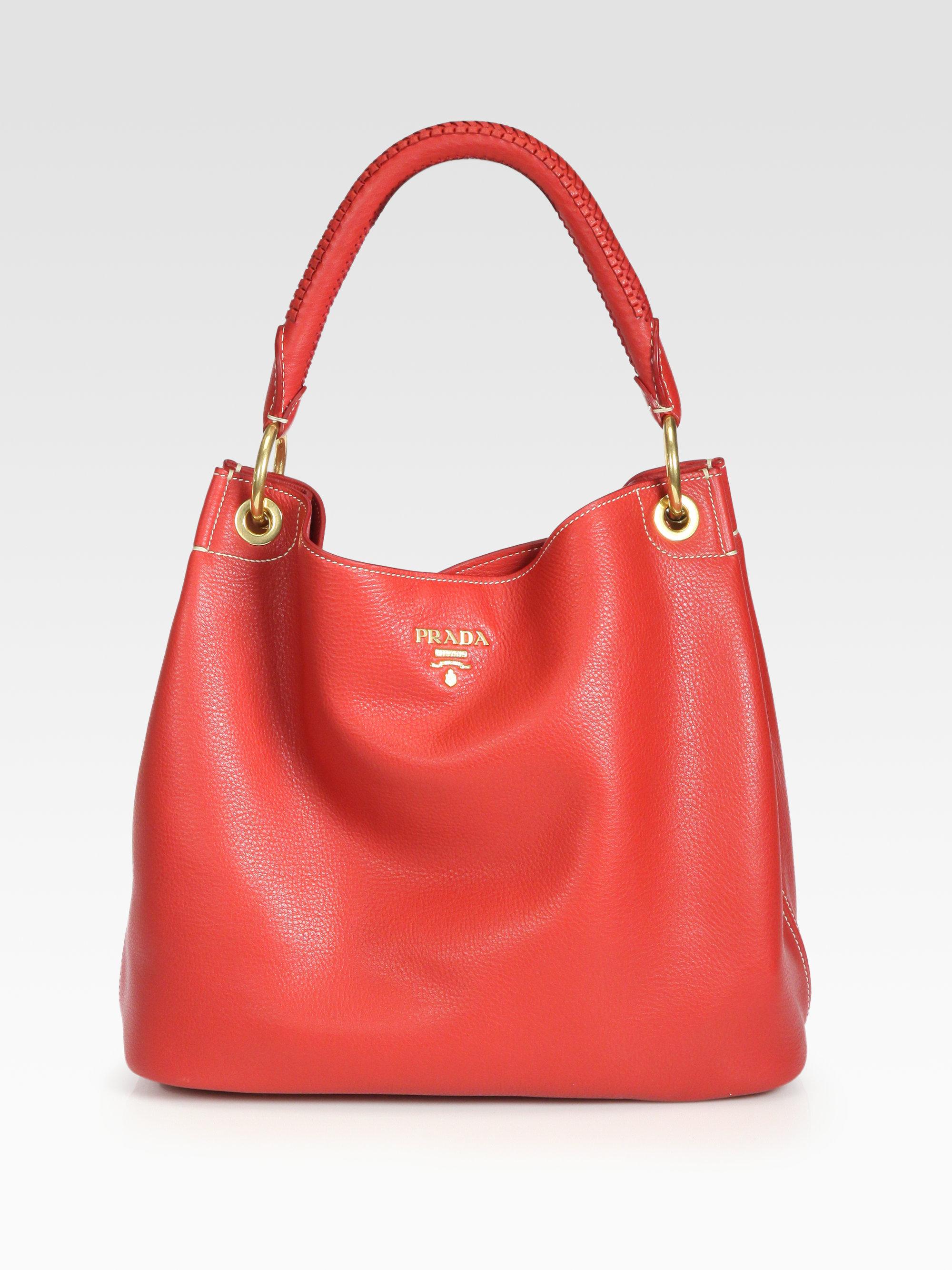 Lyst - Prada Vitello Daino Hobo Bag in Red ce2a43cca5