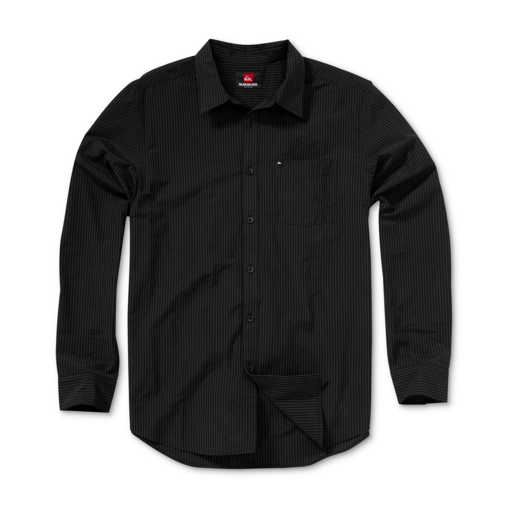 Quiksilver line work long sleeve shirt in black for men lyst for Black long sleeve work shirt
