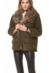 Smythe Flak Jacket with Faux Fur Collar - Lyst