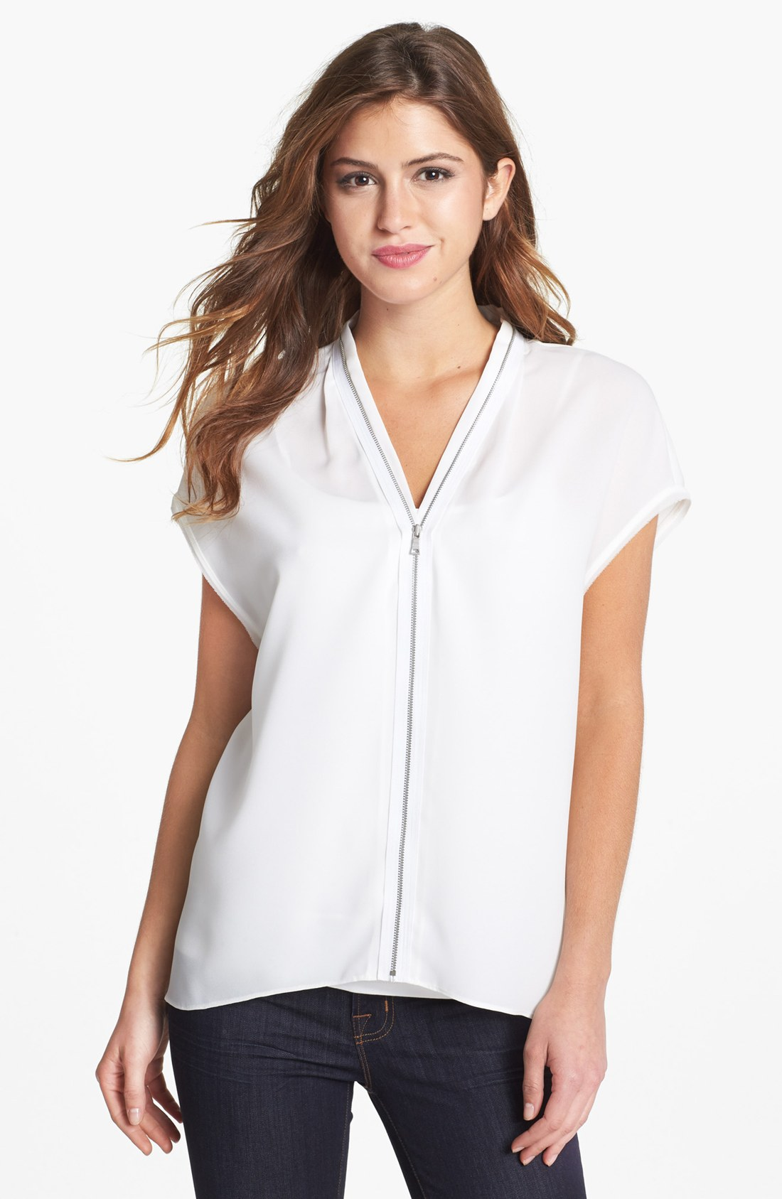Zip Front Blouse White 89