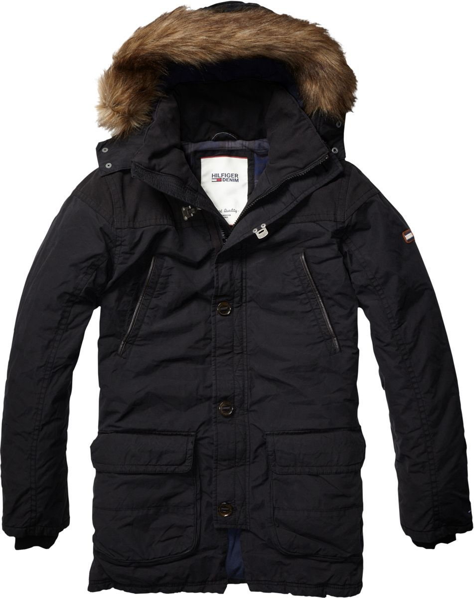 tommy hilfiger nixon hooded parka in black for men lyst. Black Bedroom Furniture Sets. Home Design Ideas