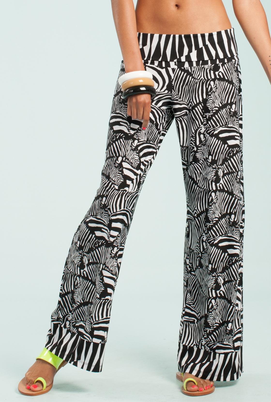 Trina turk Tanzania Zebra Wide Leg Pant in Black | Lyst