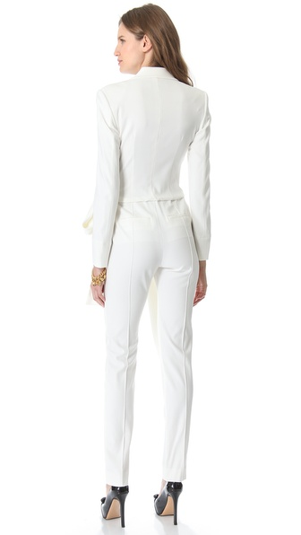 Viktor & rolf Long Sleeve Bow Jumpsuit in White | Lyst