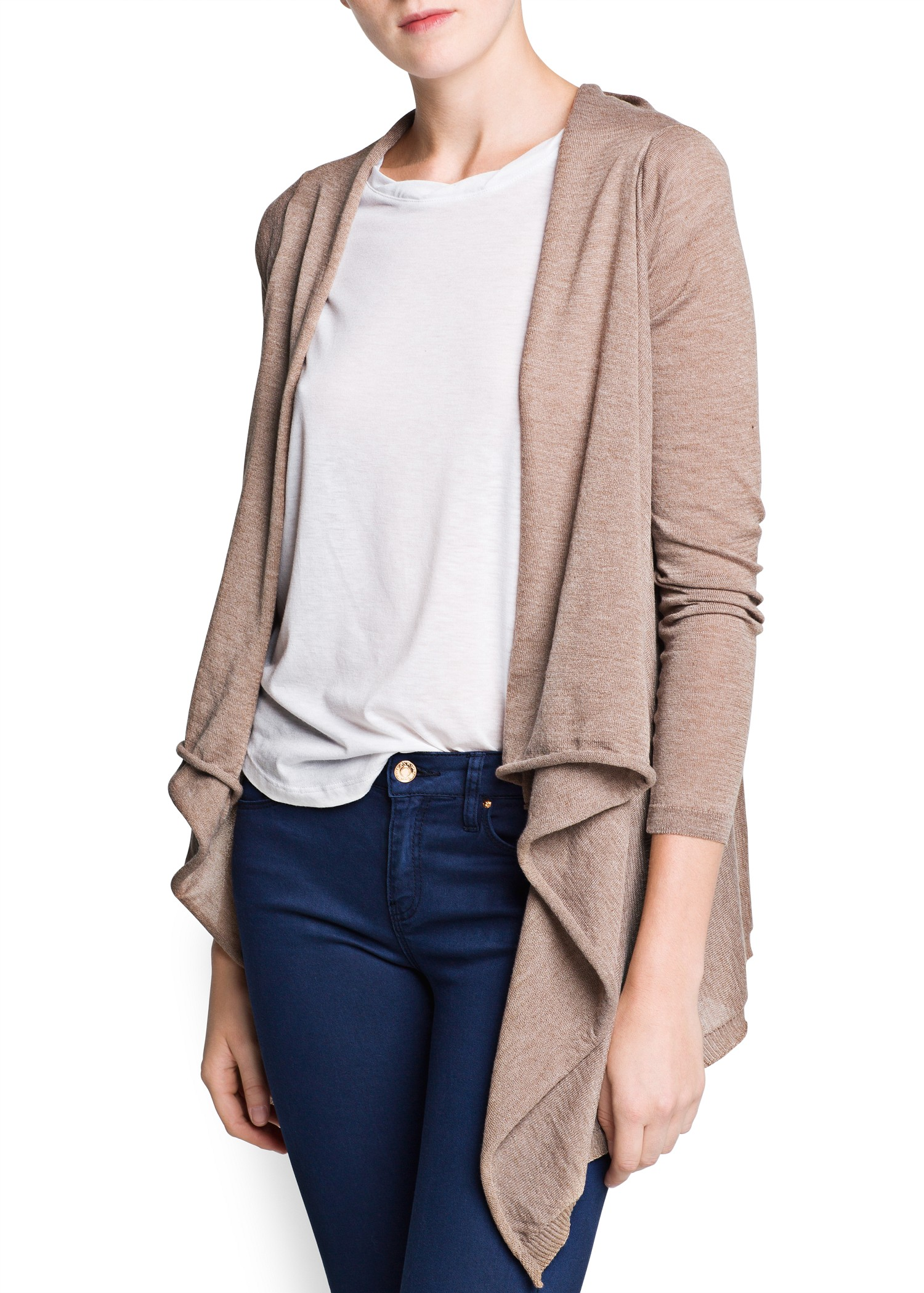 Mango Waterfall Cardigan in Natural | Lyst