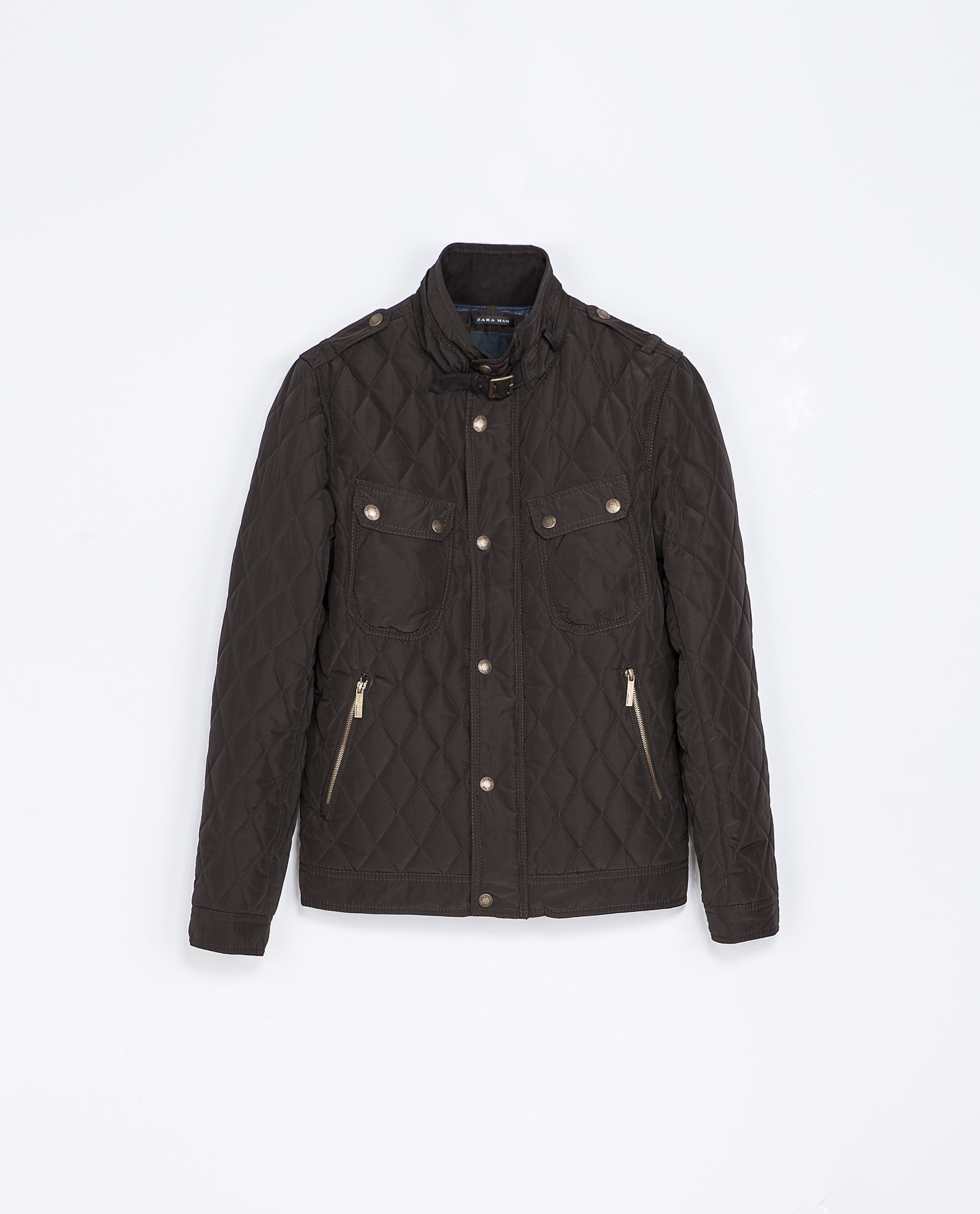 Zara Quilted Jacket With Angled Pockets In Brown For Men