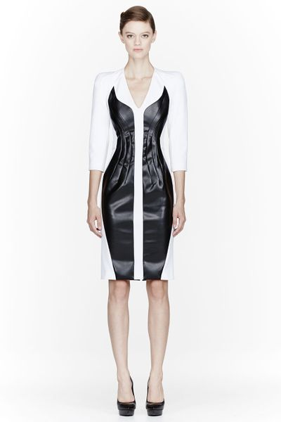 Altuzarra White Leather_insert Baxter Poly Dress in Black (white) - Lyst