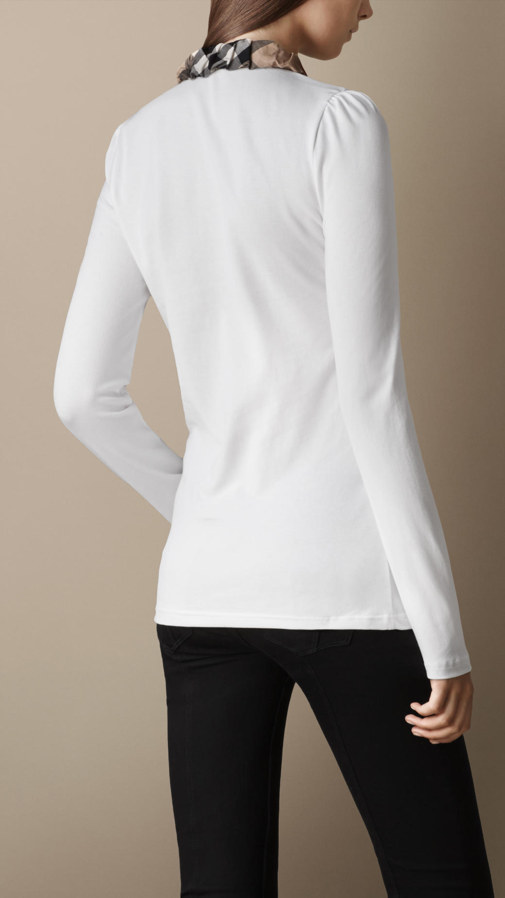a2bda6055d9c Lyst - Burberry Long Sleeve Check Collar Polo Shirt in White