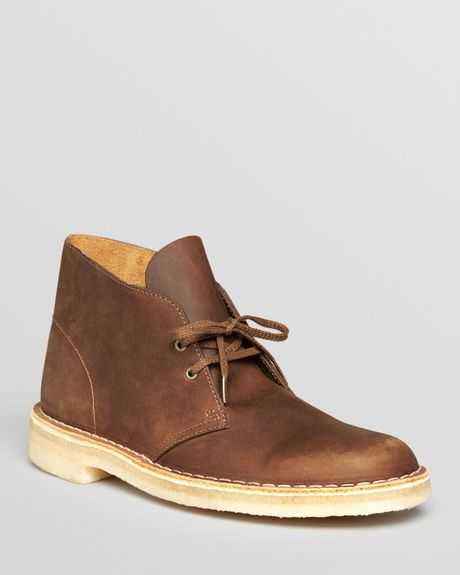 clarks original leather desert boots in brown for lyst