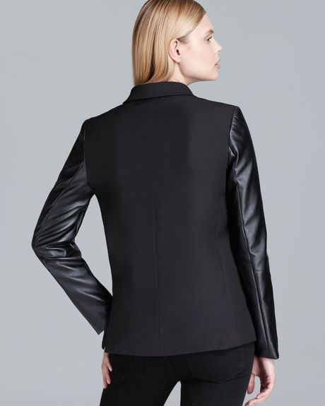 Dkny Shawl Collar Blazer With Faux Leather Sleeves In