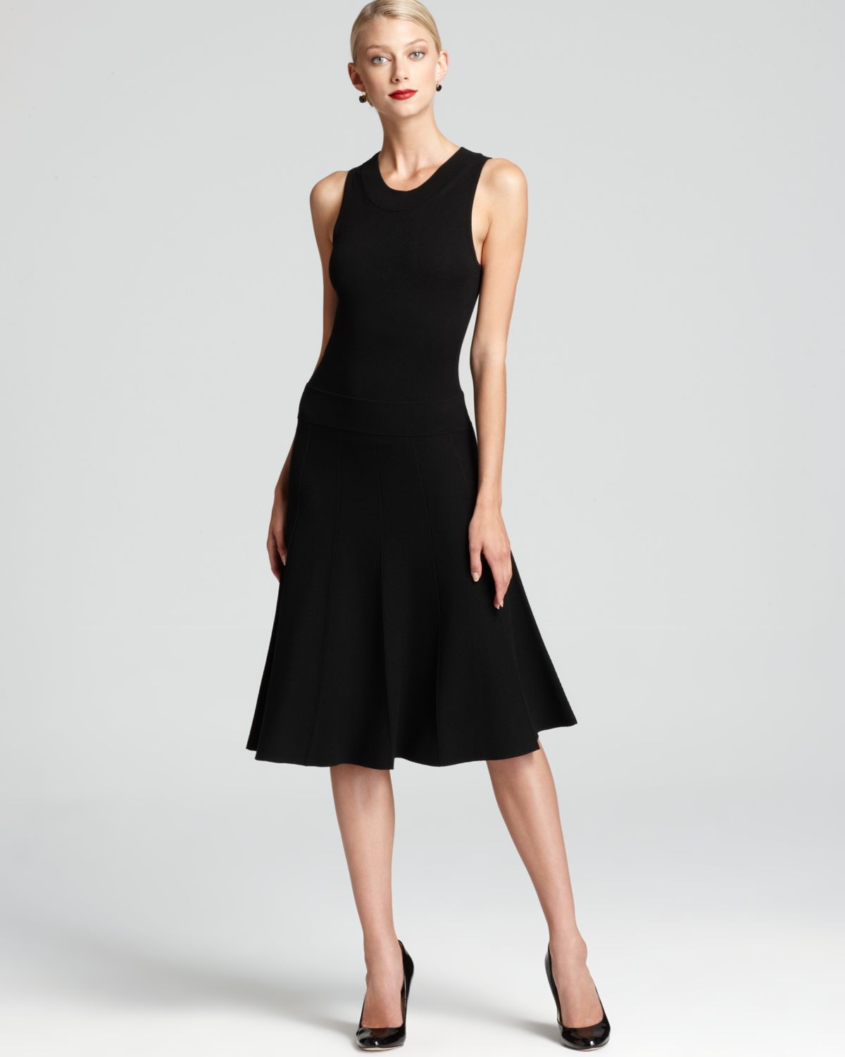 Donna karan new york sleeveless dress panelled flirty in for Donna karen new york