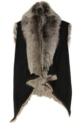 Donna Karan New York Casual Luxe Reversible Shearling and Suede Vest - Lyst