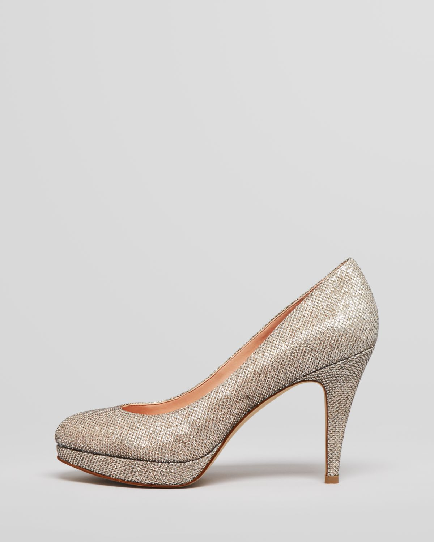 Enzo Angiolini Round Toe Glitter Pumps Dixy in Natural - Lyst 5c40d831f8f5