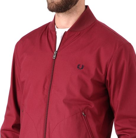 fred perry tipped bomber jacket in red for men maroon lyst. Black Bedroom Furniture Sets. Home Design Ideas