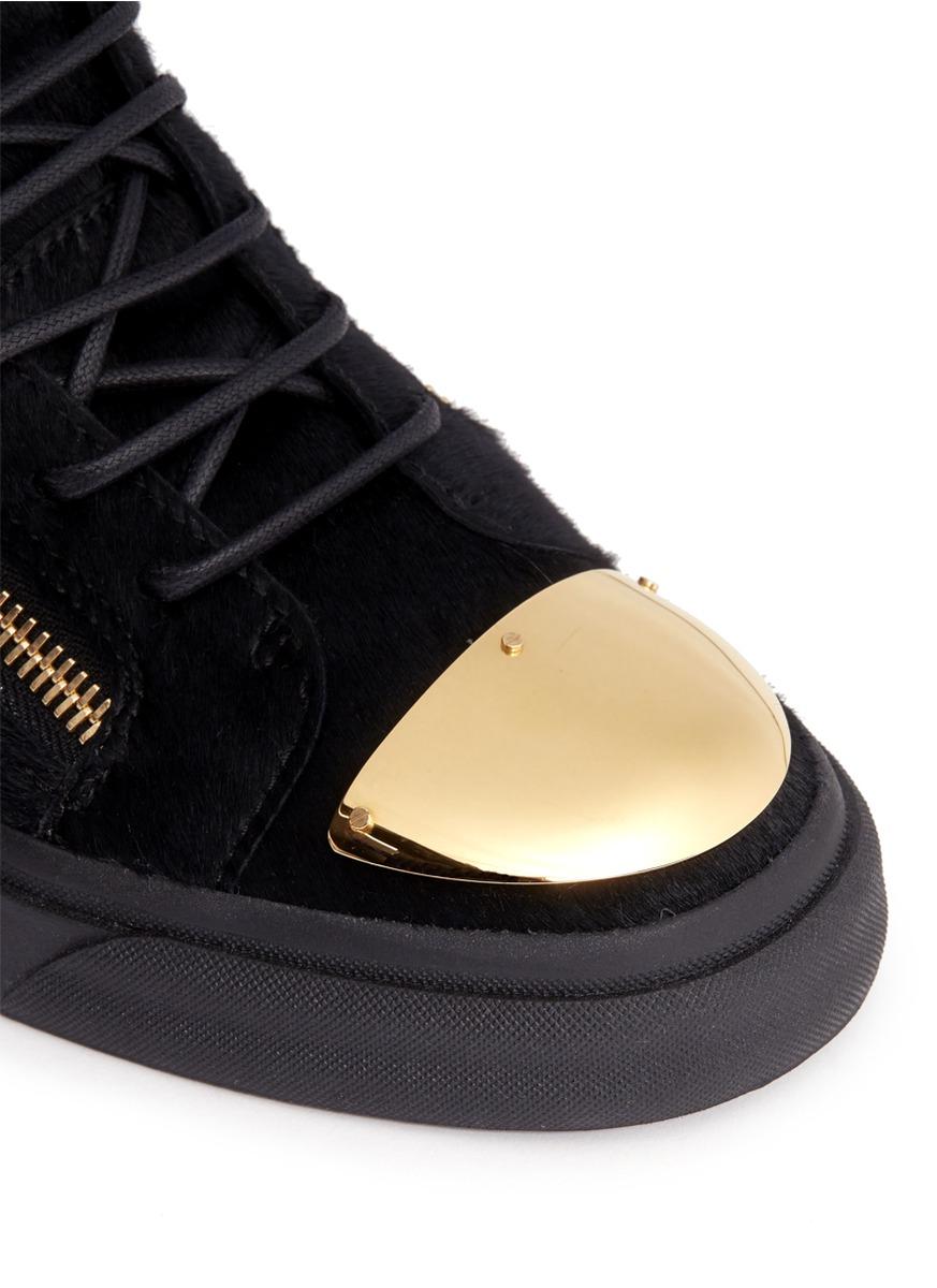 16f55bdb7a1b3 Giuseppe Zanotti Metal Toe-cap Pony-hair High-top Sneakers in Black ...