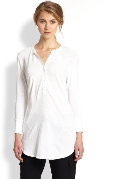 James perse slub cotton jersey henley tunic in white lyst for James perse henley shirt