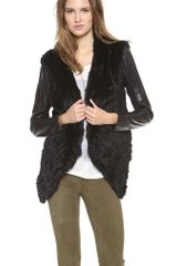June Knit Fur Jacket with Leather Sleeves - Lyst