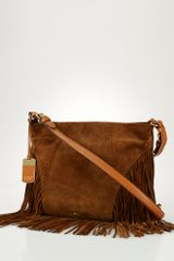 Lauren by Ralph Lauren Suede Fringe Shoulder Bag - Lyst