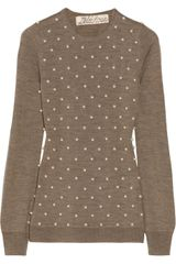 Lela Rose Embellished Wool Silk and Cashmereblend Sweater - Lyst