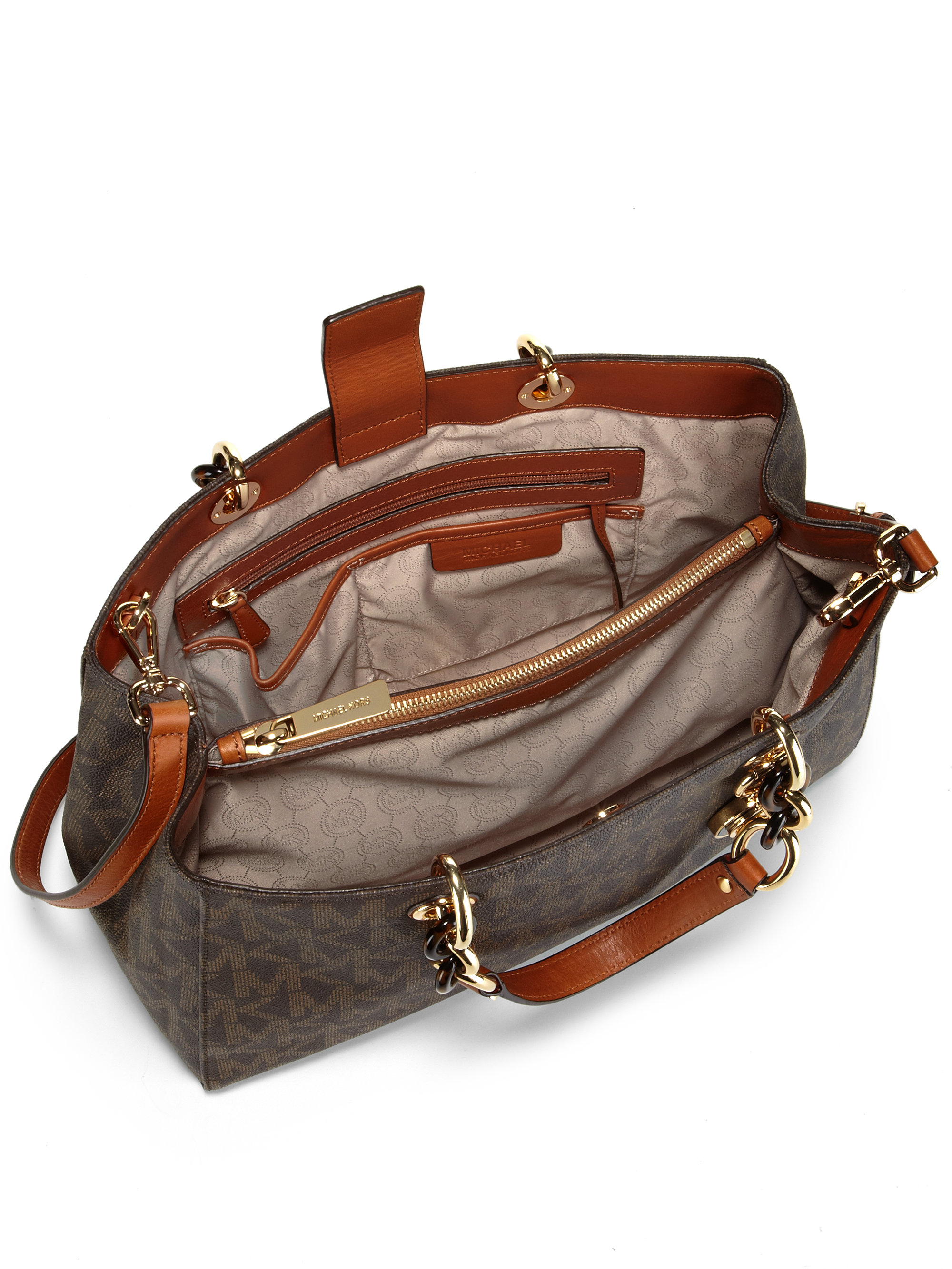 37bf6c408a83 ... greece lyst michael michael kors cynthia signature large satchel in  brown 1fa77 86887