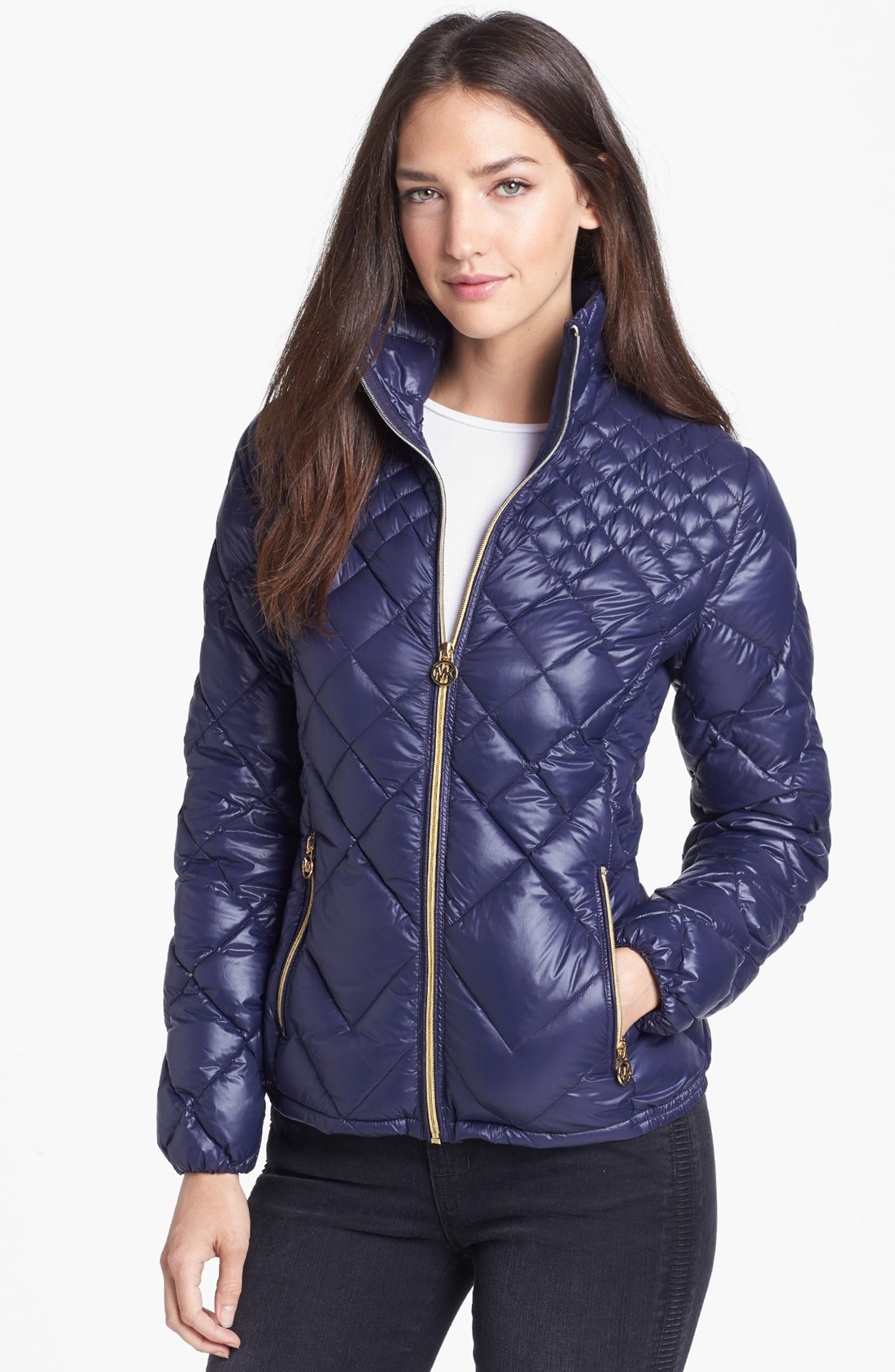 michael michael kors diamond quilted down jacket in blue. Black Bedroom Furniture Sets. Home Design Ideas