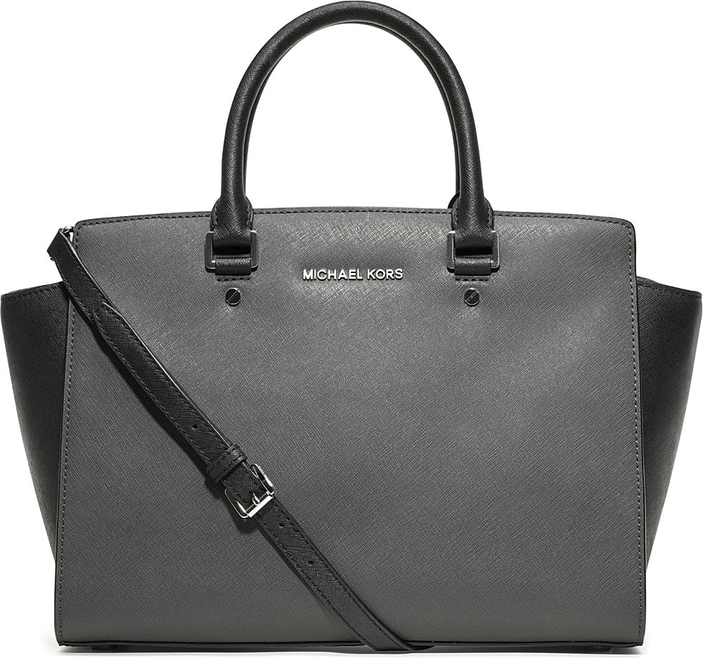 michael kors selma large saffiano leather satchel in gray dark slate black lyst. Black Bedroom Furniture Sets. Home Design Ideas
