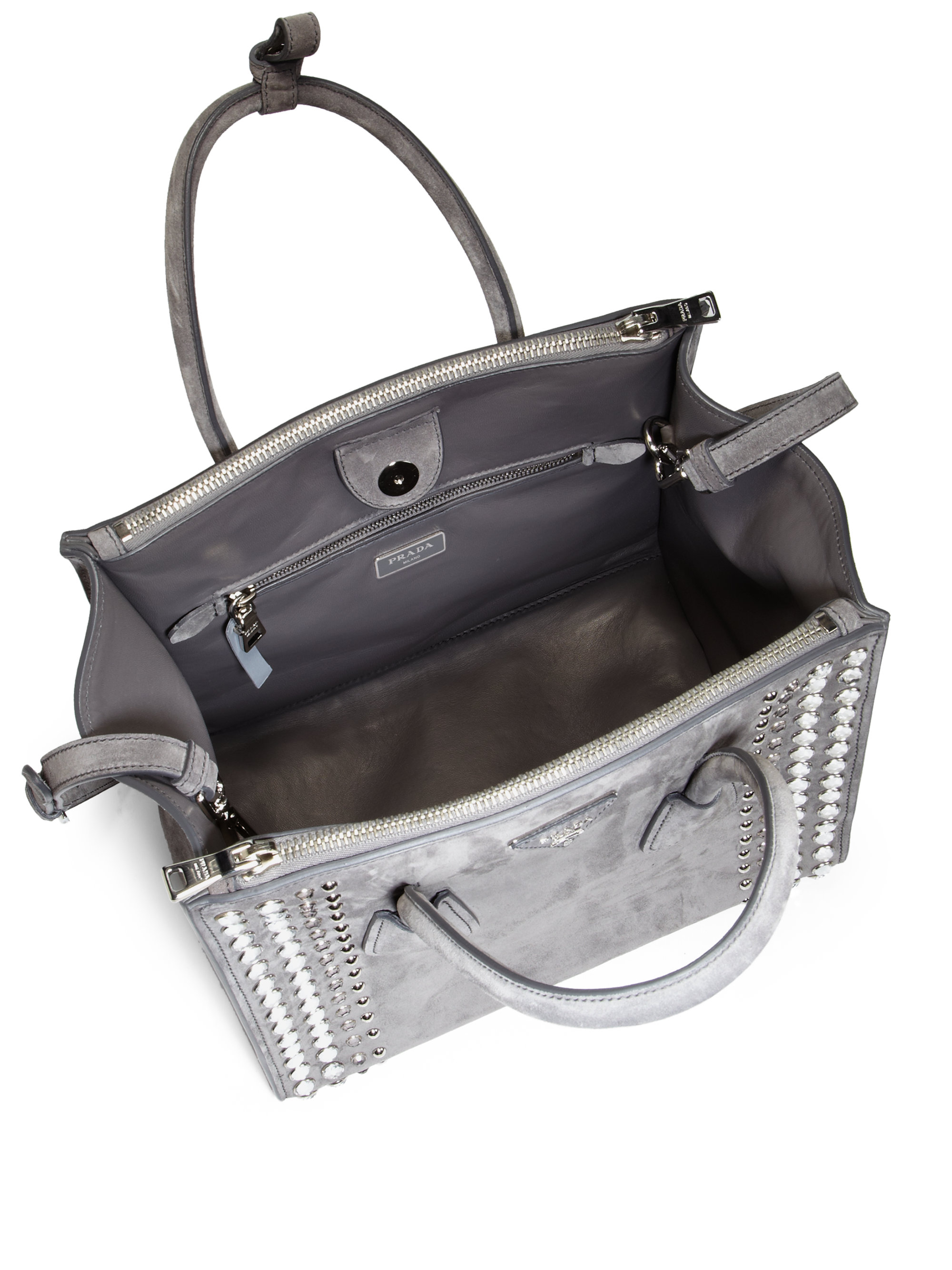 d9832a70ab4e Lyst - Prada Studded Suede Twin Pocket Tote in Gray