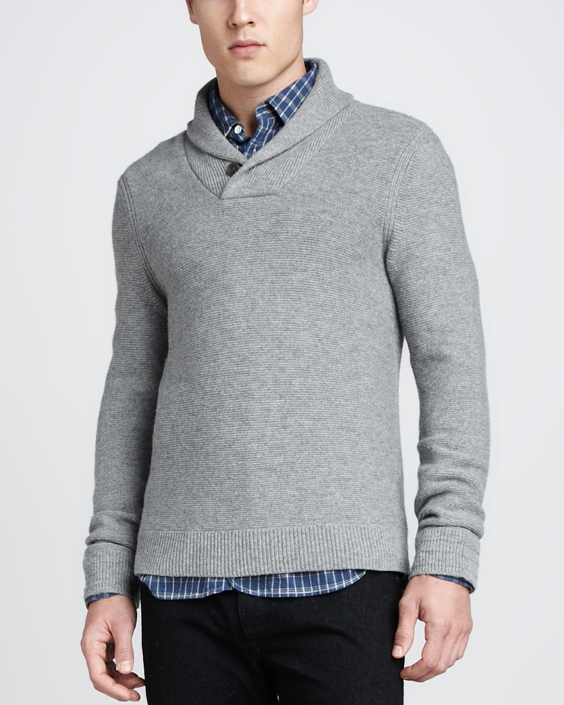 Lyst Rag Bone Graham Shawl Pullover Sweater Light Gray In Gray