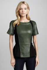 Rebecca Minkoff Lyra Leather Ponte Peplum Top Blackcommander - Lyst
